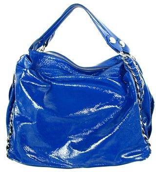 The Look For Less: Elisa Atheniense Patent Blue Handbag