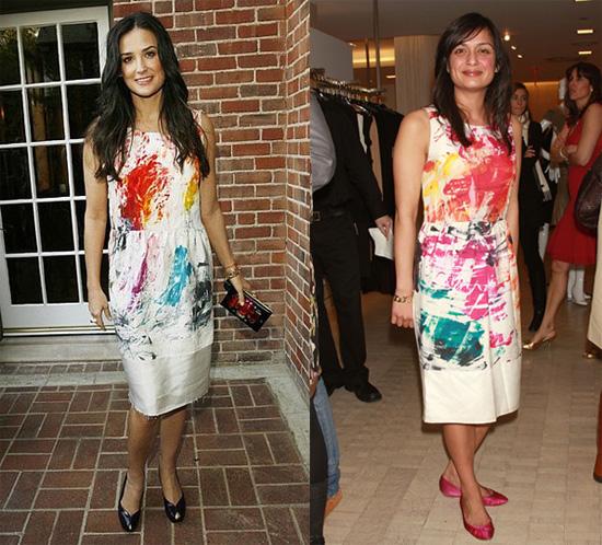 Demi Moore and Roopal Patel in Yves Saint Laurent brushstroke dress