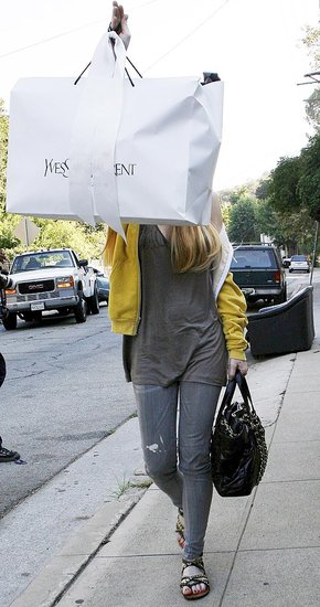 Lindsay Lohan Carrying a Huge Yves Saint Laurent Shopping Bag
