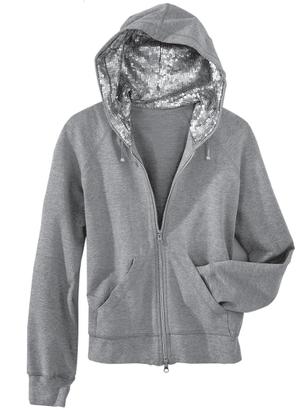 Fab Finger Discount: Spiegel Gray Sequin Hood Hoodie