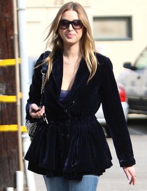 Whitney Port in LA Wearing Velvet Jacket