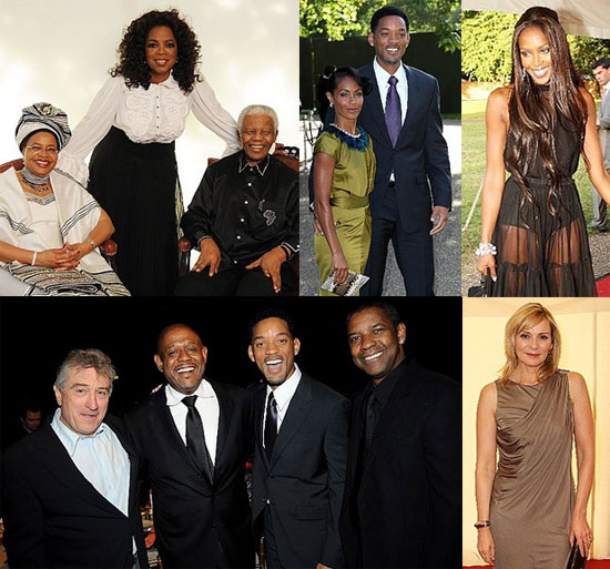 Photos of Oprah Winfrey, Naomi Campbell, Will Smith, Denzel Washington, Robert De Niro at Nelson Mandela's Birthday Party