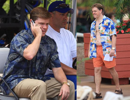 Photos of Fat Matt Damon on the Set of The Informant Shirtless in Hawaii