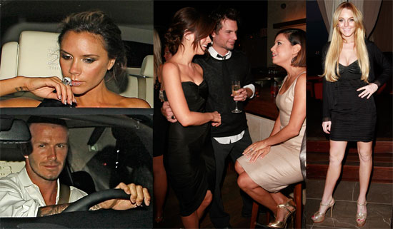 Photos of Beckhams, Beckinsale, Longoria-Parkers, Lindsay Lohan, Samantha Ronson Partying at Thompson Hotel in LA