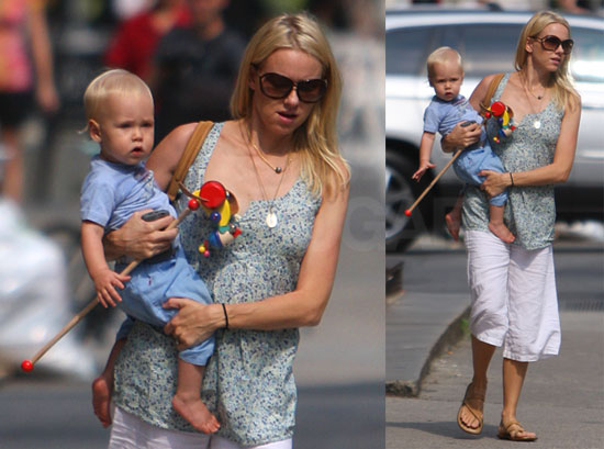 Photos of Pregnant Naomi Watts and Her Son Alexander Schreiber In NYC