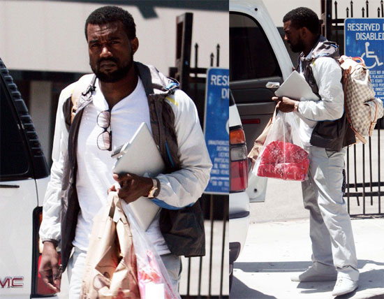 Photos of kanye west on his way into recording studio in for Kanye west studio