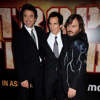 Jack Black, Ben Stiller and Robert Downey Jr at the UK Tropic Thunder Premiere