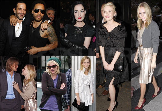 Photos of Kirsten Dunst, Kate Bosworth, Lenny Kravitz, Dita von Teese, Emma Watson at Paris Fashion Week