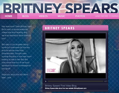Photo of Britney Spears New Website She Relaunched