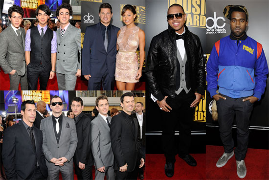 Photos of Nick Lachey, The Jonas Brothers, Chris Brown, Kanye West on the Red Carpet at the American Music Awards