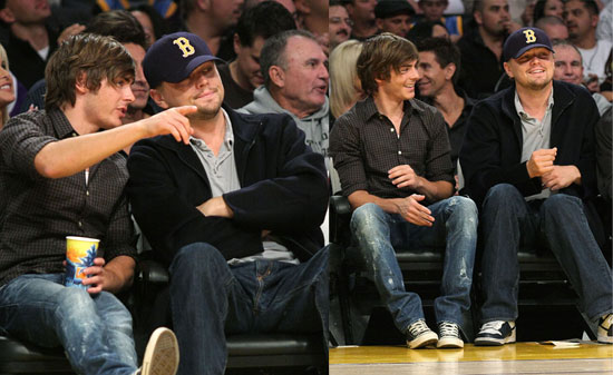 Photos of Leonardo DiCaprio and Zac Efron at the Lakers Game