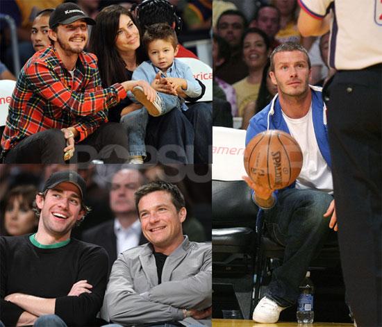 Photos of David Beckham, Shia LaBeouf, Will Ferrell, John Krasinski, Jason Bateman at the Lakers Game