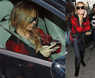 Photos of Lindsay Lohan On Her Blackberry