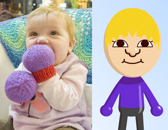 Knit Mii-Like Ball Mittens For Babies