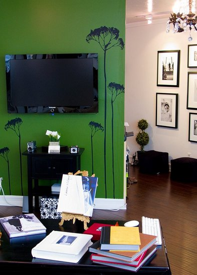 Photographer Lauren Hillary Uses Her Mounted Flat Screen TV To Complement Decor