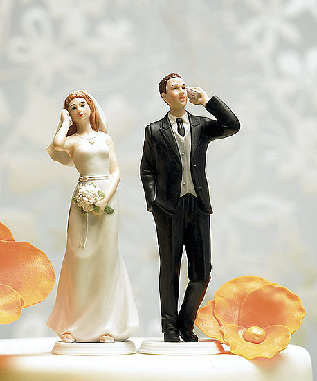 Geeksugar pointed out this tacky cellphone topper ($19.95), and maybe they'd work if you were a long-distance couple, but if you'd rather talk to other folks than your sweetie, maybe a wedding isn't for you.