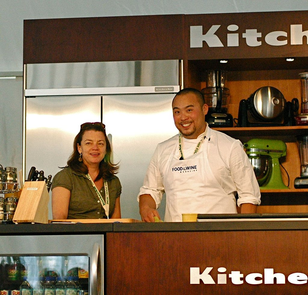 David Chang hosted a party that Party and I attended. Here's Chang earlier in the day, at his cooking demo.