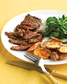 Fast & Easy Dinner: Skirt Steak With Crispy Garlic Potatoes