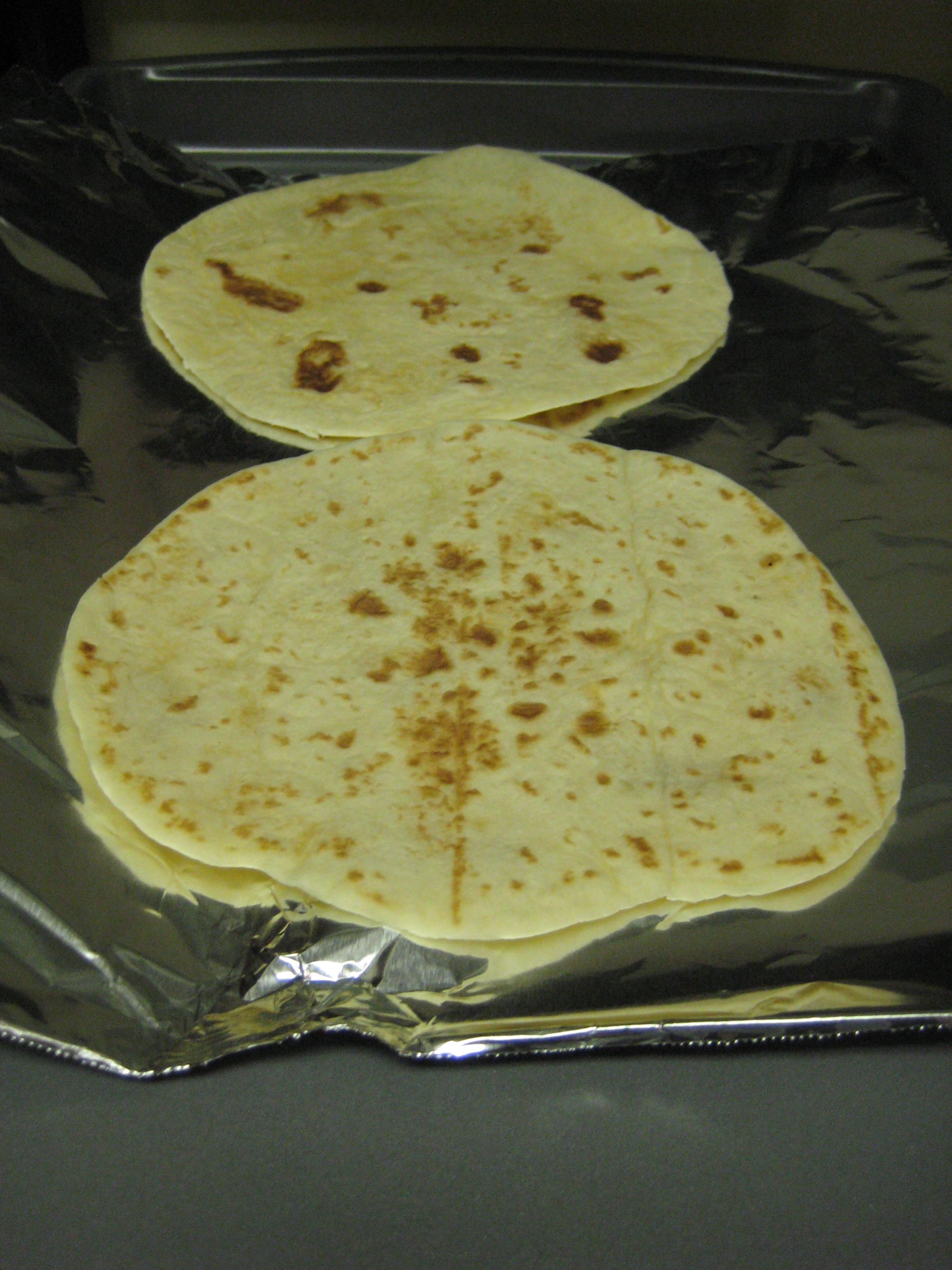 Pre bake the tortillas to make them crisp.
