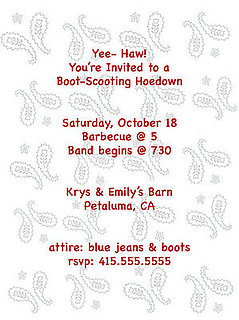 Come Party With Me: Hoedown — Invite