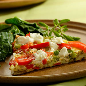 Fast & Easy Dinner: Red Pepper and Goat Cheese Frittata