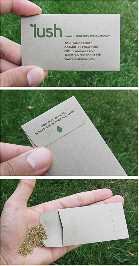"Business card from ""Lush Lawn and Property Enhancement,"" stuffed with grass seed."