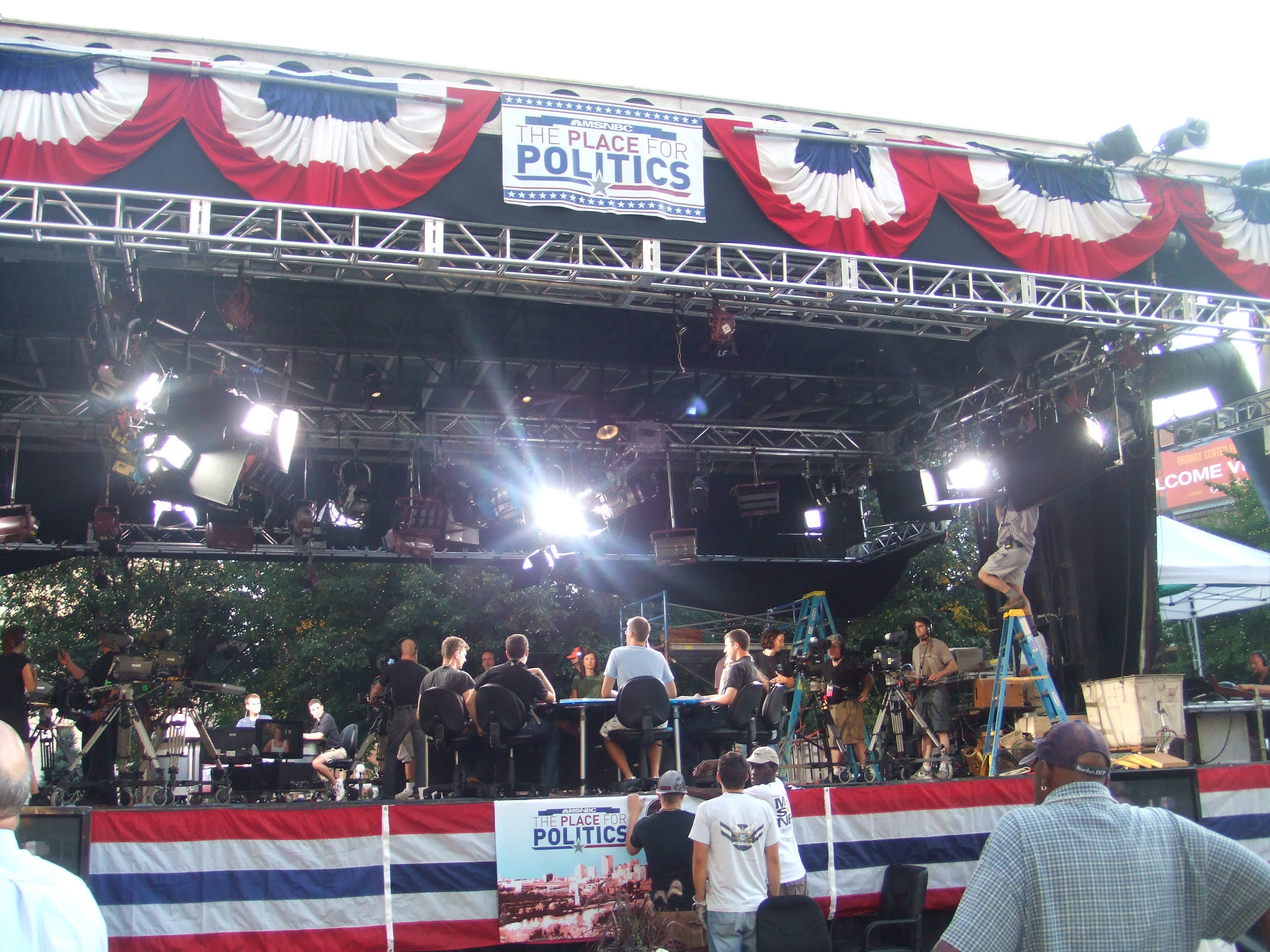MSNBC has their tent all set up--way outside of the Excel Center.