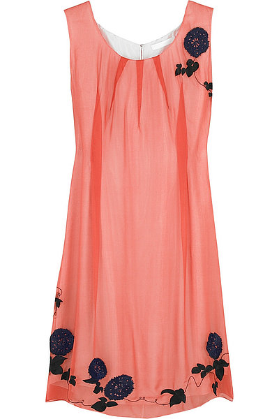 Floral Embroidered Silk Tank Dress