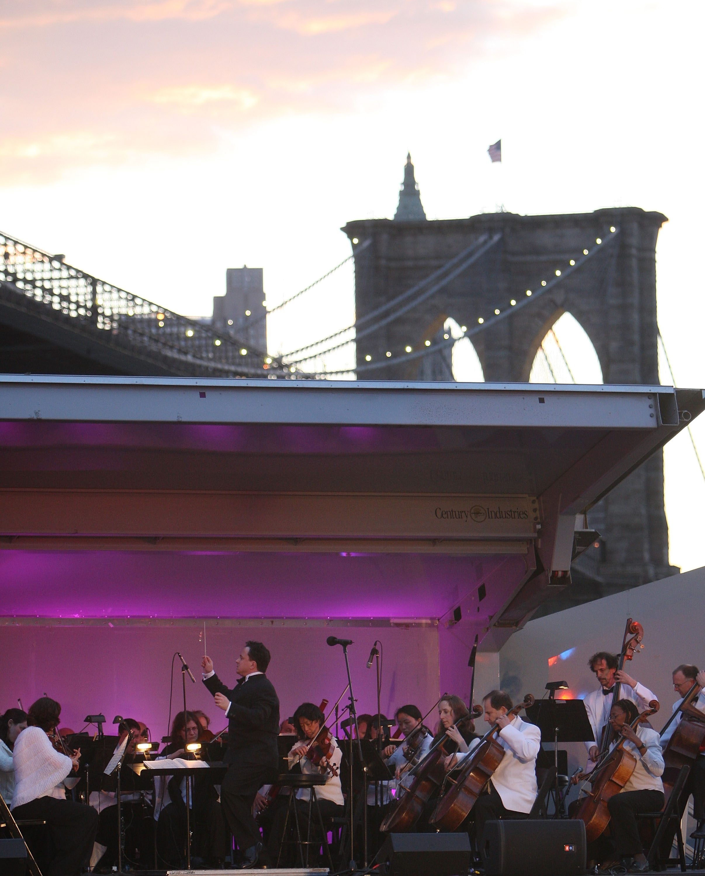 The Brooklyn Philharmonic performs under the Brooklyn Bridge on Thursday.