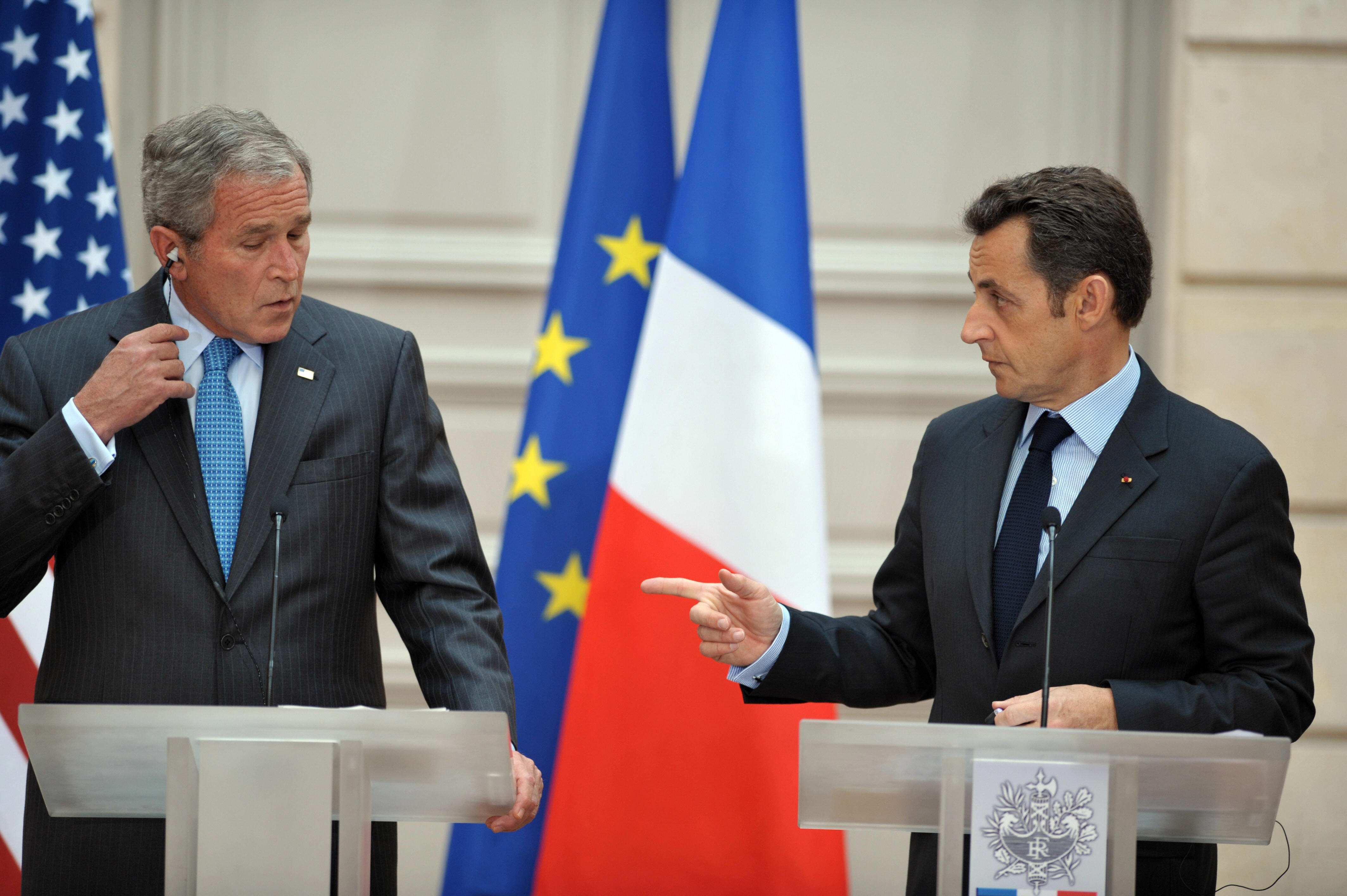 Bush attends a joint press conference with his French counterpart Nicolas Sarkozy at the presidential Elysee Palace in Paris.