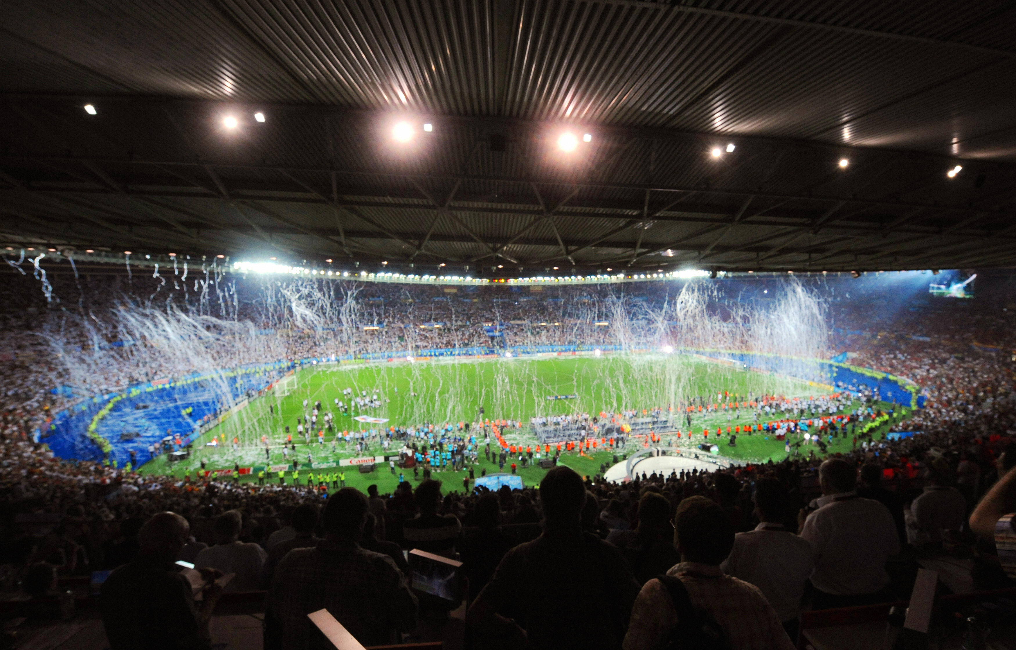 The Ernst-Happel stadium in Vienna at the end of the Euro 2008 championships.