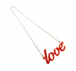 Red 'Love' necklace by Anna Lou of London, Valentine's Gift