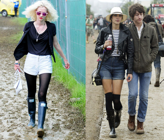 Portia Freeman and Alexa Chung at Glastonbury Festival 2008