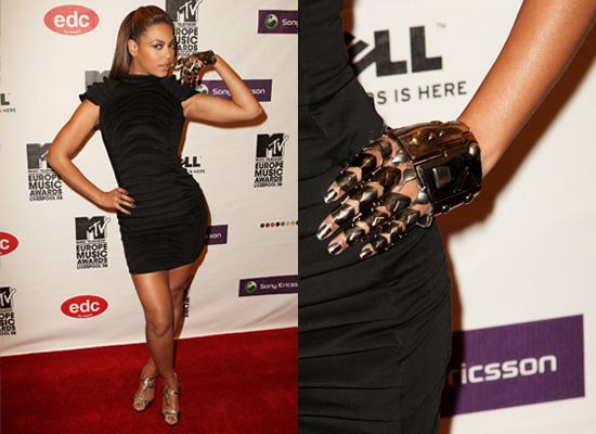 Beyonce Knowles in Black Dress and Metal Glove at 2008 MTV EMAs