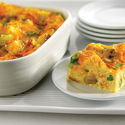 Cheddar and Mushroom Breakfast Squares