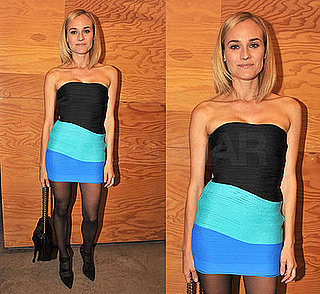 Diane Kruger Wears a Turquoise and Black Color Swirl Alexander Wang Dress to an Art Opening in NYC