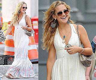 Kate Hudson Strolls NYC in White Lauren Moffatt Halter Maxi Dress