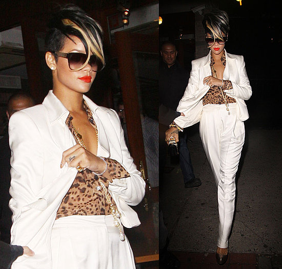 Rihanna Leaving Da Silvano Restaurant in NYC Wearing White Derek Lam Pantsuit and Leopard Blouse