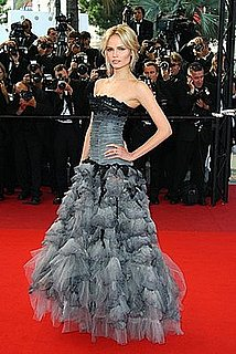 Model Natasha Poly Wears Black and Gray Roberto Cavalli Gown to 2009 Cannes Film Festival