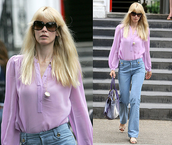 Claudia Schiffer Drops Her Kids at School Wearing Lilac Sheer Blouse and High-Waisted Jeans