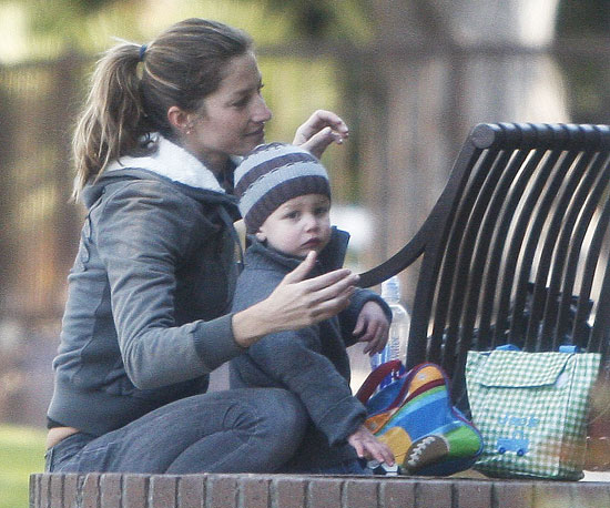 Photo of Gisele Bundchen Playing with her Stepson John Moynahan at an LA Park