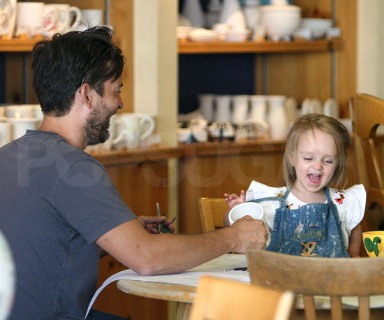 Photo of Tobey Maguire and His Daughter Ruby Painting Pottery Together at Color Me Mine in Beverly Hills