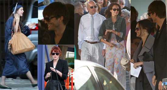 Photos of Bruce Willis, Demi Moore, Ashton Kutcher, Emma Heming, Rumer Willis, at Scout Willis's Graduation Party