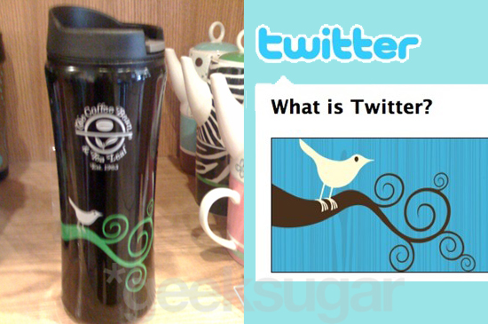 Twitter Bird Logo Spotted on Coffee Bean & Tea Leaf Mug