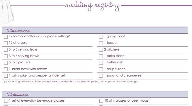 Wedding Gift List Checklist : Download Our Free Wedding Registry Checklist POPSUGAR Food