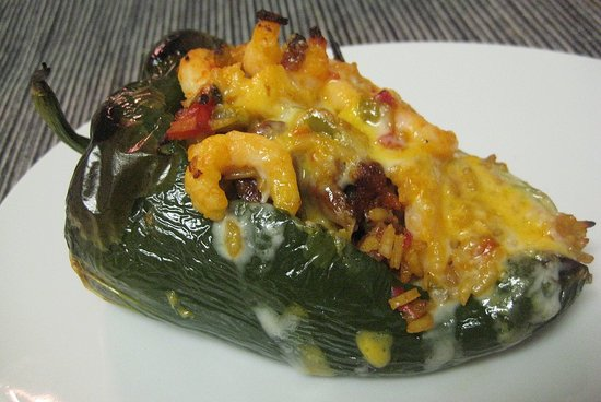 Chorizo and Shrimp Stuffed Poblano Peppers