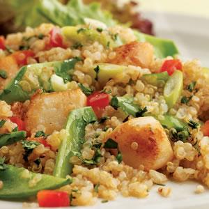 Fast & Easy Dinner: Quinoa Salad With Scallops & Snow Peas