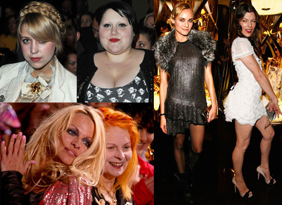 Photos of Peaches Geldof, Beth Ditto, Pamela Anderson, Vivienne Westwood, Diane Kruger, Milla Jovovich at Paris Fashion Week