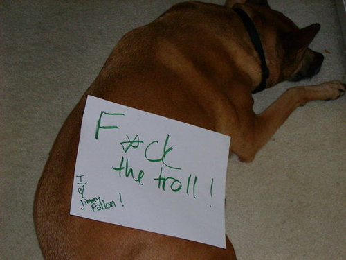 My pup telling all trolls to go to Hades...and saying she loves Jimmy Fallon :P
