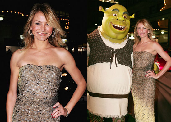 Cameron Cozies Up With Shrek at Sydney Premiere